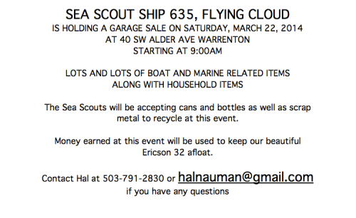22March Sea Scout Garage Sale